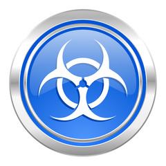 biohazard icon, blue button, virus sign