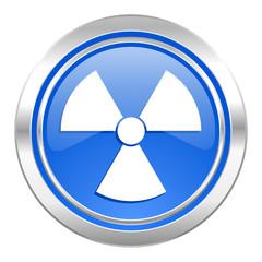 radiation icon, blue button, atom sign