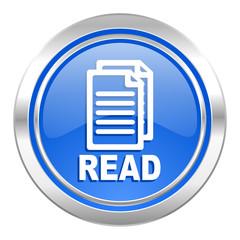 read icon, blue button