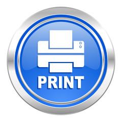 printer icon, blue button, print sign