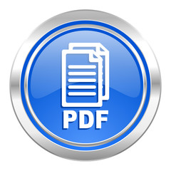 pdf icon, blue button, pdf file sign