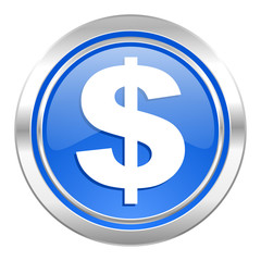 dollar icon, blue button, us dollar sign