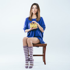 Fashionable girl in knitted socks