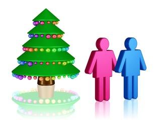 ein Paar bewundert seinen Weihnachtsbaum