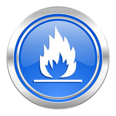 flame icon, blue button