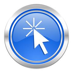 click here icon, blue button
