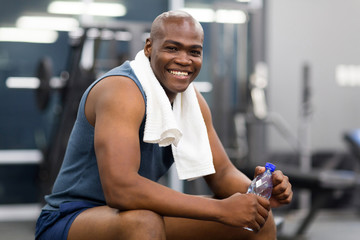 african american man resting after workout