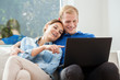 Couple in love using internet