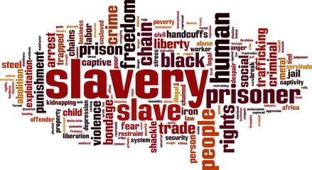 Slavery word cloud concept. Vector illustration
