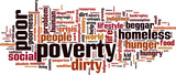 Poverty word cloud concept. Vector illustration poster