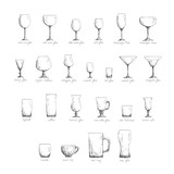 Different glass glasses in sketch style, black and white edition
