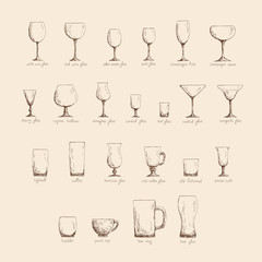 Different glass glasses in sketch style, vintage color edition