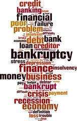 Bankruptcy word cloud concept. Vector illustration