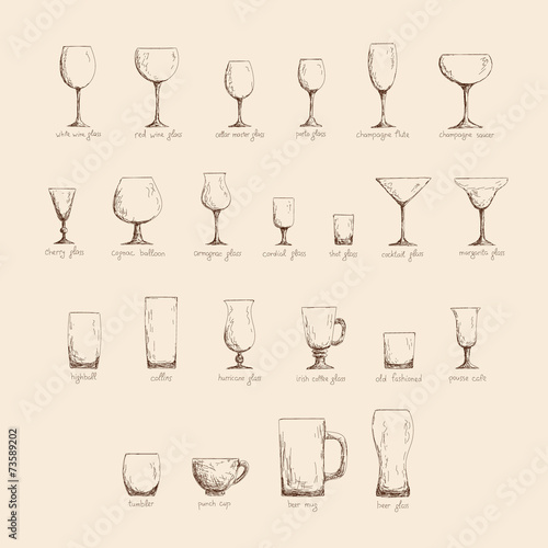 Different glass glasses in sketch style, vintage color edition - 73589202