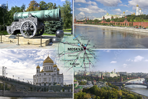Sightseeing of Moscow in collage - 73589254