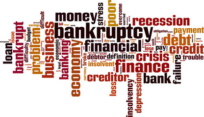 Bankruptcy word cloud concept. Vector illustration