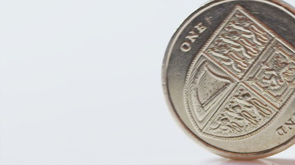 UK One pound coin rolling across the screen in slow motion
