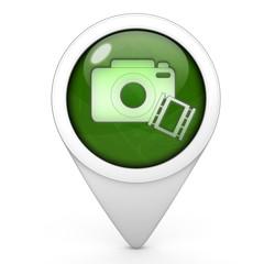 camera pointer icon on white background