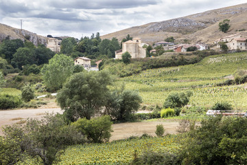 landscape of Monasterio de Rodilla village in Spain