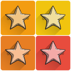 Set of drawn star icon