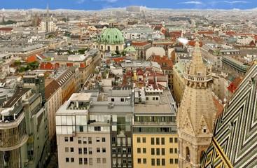 Wien von oben: vom Stephansdom Richtung AKH