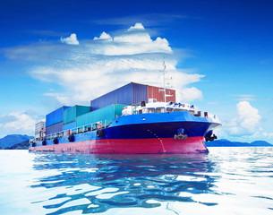 commercial container ship in naval transportation use for busine