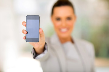 woman showing her smart phone
