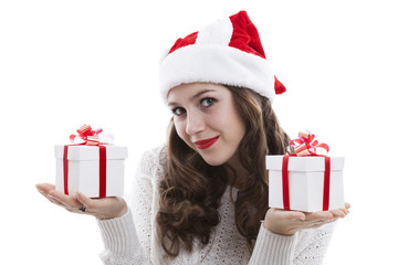 girl in a white blouse holding gift boxes