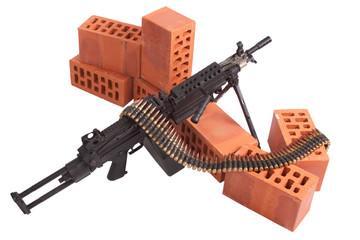 M249 machine gun on position