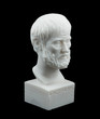 Постер, плакат: Greek philosopher Aristotle sculpture isolated on black