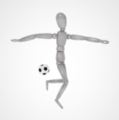 3d man playing soccer on white background