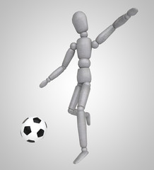 Man playing soccer on white background