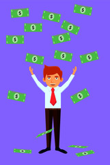 Happy businessman showered with US dollars