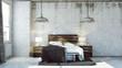 Rendered Industrial Bedroom