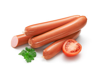 Sausage on a white background with green leaf and tomato
