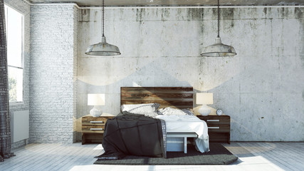 Rendered Industrial Bedroom