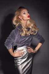 Elegant blonde woman posing