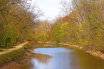 Trees along the canal in autumn foliage