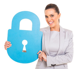 businesswoman with large padlock symbol