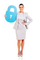 businesswoman holding lock symbol