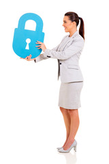businesswoman giving lock symbol