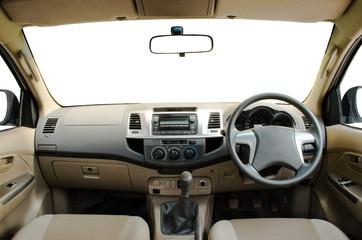 beige leather car dashboard
