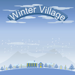 Set of Winter Village and Town Landscape vector