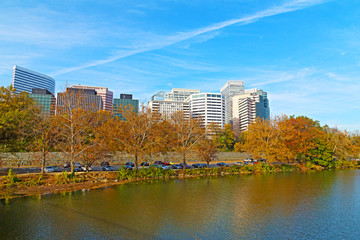 Rosslyn scenic skyline and Potomac river in autumn Washington DC