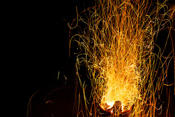 background of fireplace with sparks