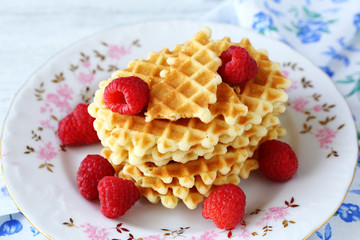 Waffle crisp in a white plate