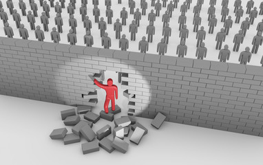 Man breaking trough a wall. Concept of gaining freedom