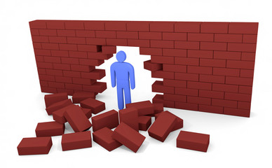 Man broke the brick wall. Concept of solution to the problem