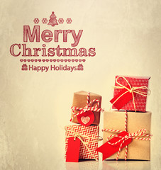 Merry Christmas message with gift boxes