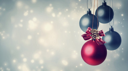 Red and gray Christmas ornaments